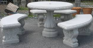cement table and bench round concrete patio table round designs