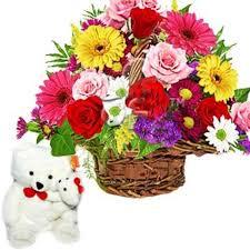flower gift teddy basket of 24 flower flower gift 172 flowers