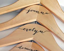 8 personalized bridesmaid hangers engraved wood