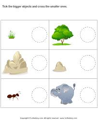 tick bigger objects cross smaller objects worksheet turtle diary