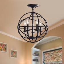 Antique Iron Chandeliers Benita Antique Black 5 Light Iron Orb Flush Mount Chandelier