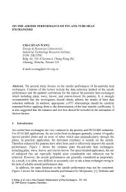 Technology Transfer Resume On The Airside Performance Of Fin And Tube Heat Exchangers Springer
