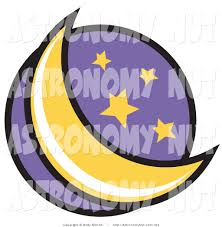 clipart of a crescent moon and stars in the night sky in a circle