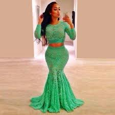 aliexpress com buy sale mint green lace long sleeve prom