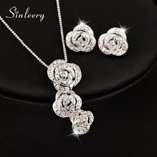 18k white gold 3 rose flower pendant necklace earrings wedding