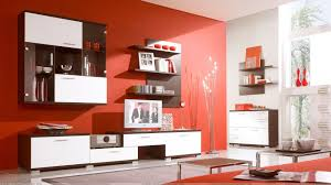 red background and wooden furniture in study and tv room wallpaper
