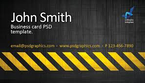 Photoshop Template Business Card Business Card Template Construction Hazard Stripes Theme