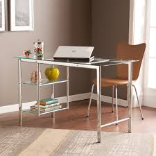 Home Office Glass Desks Clay Alder Home Liberty Chrome Glass Desk Free Shipping Today