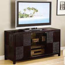 media console with glass doors masculine modern media console designs ideas with dark brown wood