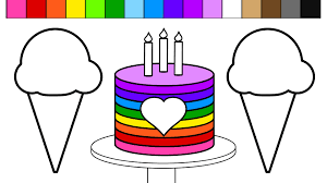 learn colors color rainbow ice cream birthday cake coloring