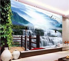 online get cheap photo water wallpaper aliexpress com alibaba group custom mural 3d photo wallpaper water falls crane home decor painting 3d wall murals wallpaper for living room walls 3 d