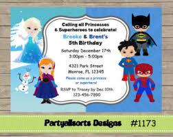diy princess and superhero party invitations
