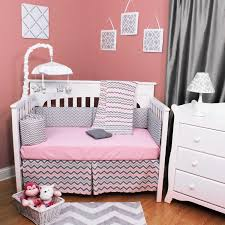 Pink And Gray Crib Bedding Pink And Gray Crib Bedding Sets Chevron Baby Stock