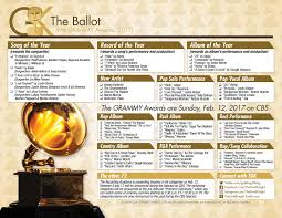 59th grammy awards printable ballot 2017 the gold knight
