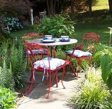 Cast Iron Patio Set Table Chairs Garden Furniture by Vintage Wrought Iron Outdoor Patio Set Painted Bright Red