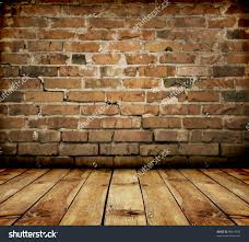 woods vintage home interiors room interior vintage with brick wall and wood floor stock photo