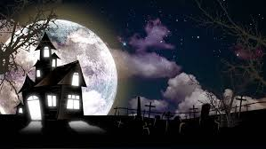 halloween haunted house and graveyard background stock footage