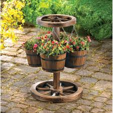 wholesale rustic wagon wheel garden decor planter hanging water