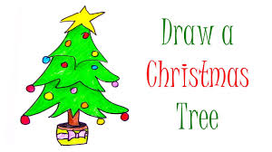 how to draw a christmas tree christmas easy drawings for kids