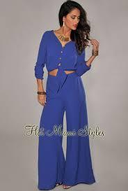 royal blue jumpsuit blue tie front wide leg jumpsuit