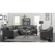 grey fabric modern living room sectional sofa w wooden legs chic home aberdeen sectional sofa w left hand chise in grey linen