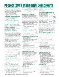 microsoft project 2013 quick reference guide managing complexity
