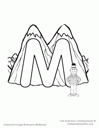 mountain letter m sesame street alphabet coloring page
