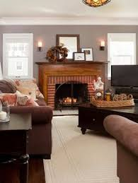 red brick fireplace surround living room traditional with floral