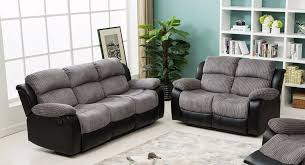 Fabric Recliner Sofa California 3 2 Seater Bonded Leather Fabric Recliner Sofa In Two