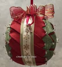 handcrafted by fabric ornaments quilted on styrofoam
