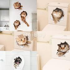 wall stickers home decor home garden funny toilet sticker cute cat animal vinyl art home wall sticker decals