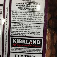 krikland kirkland signature dry roasted almonds calories nutrition