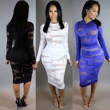 mesh patchwork midi dresses long sleeve women night party