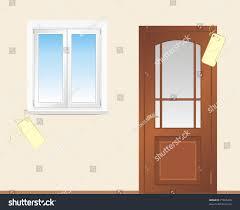 Wooden Door Window Wooden Door Vector Stock Vector 77865406 Shutterstock