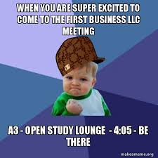 Business Kid Meme - when you are super excited to come to the first business llc