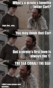 Carl Rick Meme - rick carl pirate walking dead pinterest walking dead memes