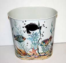 Bathroom Waste Basket by Cute Vintage Weibro Metal Wastebasket Trash Can Colorful Tropical