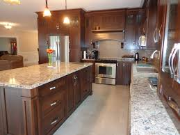 Wood Kitchen by Stained Cherry Wood Kitchen With Light Colored Quartz Countertop