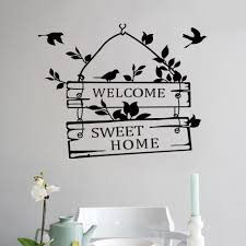 removable welcom to sweet english letters home bird wall stickers