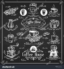 elements of home design decorative vintage coffee icons ink design for shop vector