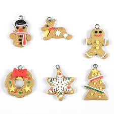 6pcs set christmas ornaments lovely santa claus animal gingerbread
