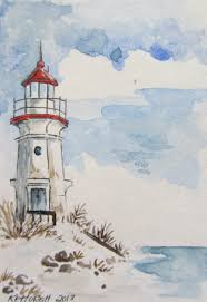 lighthouse art pinterest lighthouse great lake lighthouse watercolor aceo