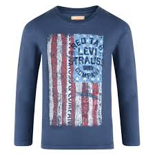 Faded American Flag Levi U0027s Baby Boys Blue Long Sleeve T Shirt With Faded Usa Flag And