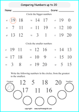 printable mathematics comparing and ordering numbers worksheets