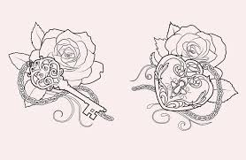 amazing shape lock and key with two roses stencil by