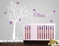 Wall Name Decals For Nursery Large Windy Tree With Birdhouse Wall Decal Nursery Trees White
