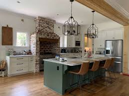 green kitchen cabinets with white island green kitchens ideas for a lively space