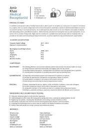 Medical Resume Templates Medical Receptionist Resume Template Gfyork Com