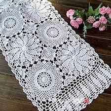 Crochet Table Runner Pattern Buy Ustide European Hand Crochet Oval Table Runner White Rustic