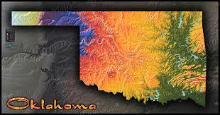Terrain Map Oklahoma Physical Features Map Colorful Topography U0026 Terrain